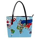 LORVIES - Die Weltkarte mit allen Staaten und Flaggen - Umhängetasche aus PU-Leder und Handtasche für Damen