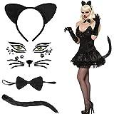 Hook Katzenohren Haarreif Katzenkostüm Damen, Katze Kostüm Mädchen Katzenohren Haarreif Schwarz Fasching Mit Katzenschwanz Kostüm und Stirnband Fliege Schwanz Set für Mädchen Zum Karneval GL (Weiss)