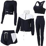BBYU Damen Yoga Kleidung Anzug 5-teiliges Yoga Sportswear Damenanzug Frauen Sportanzug Trainingsanzug Bekleidungsset Sport Sweat Suit Set Outfit
