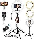 Ringlicht 10' mit 63 Zoll Stativ, Ringlicht mit Stativ und Bluetooth Fernbedienung,LED Ringleuchte 3 Farbe und 10 Helligkeitsstufen,Selfie Ringleuchte für Selfie/Live-Stream/Makeup/YouTube/Tiktok