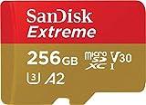 SanDisk Extreme microSD-Karte für mobiles Gaming 256 GB, Unterstützt mit A2 App Performance AAA/3D/VR-Spielgrafiken und 4K-UHD-Video, 160 MB/s Lesen, 90 MB/s Schreiben, Klasse 10, UHS-I, U3, V30