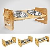 Geahod Erhöhte Edelstahl-Schüsseln für Katzen und kleine Hunde, Bambus-Erhöhtes Hunde-/Katzenfutter Wassernäpfe mit 900 ml, massives Bambus-Wasserfutter-Ständer, Futter-Set 2
