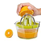 Swetup 4 in 1 Orangenpresse, Zitronenpresse BPA-frei Zitronenpresse Hand Plastik Manuelle Saftpresse mit Behälter Eingebauter Messbecher, Reibahlextraktions, Eiertrenner Limettenpresse für Küche