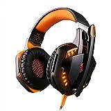 Gaming-Headset, Stereo-Gaming-Headset mit Mikrofon für PS4, Geräuschunterdrückung, kabelgebunden, Over-Ear-Kopfhörer, 3,5-mm-Klinkenstecker, für Xbox One PC, Laptop, Tablet, Mac, Smartphone, Orange