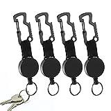 Mitening Heavy-Duty Retractable Schlüsselanhänger, 4 Stück Schlüsselrolle, Einziehbarer Schlüsselanhänger, Schlüsselband Schwerlast Abzeichen Inhaber Reel mit Karabinerhaken (Schwarz)