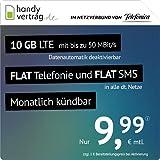 handyvertrag.de LTE All 10 GB - monatlich kündbar (Flat Internet 10 GB LTE mit max. 50 MBit/s mit deaktivierbarer Datenautomatik, Flat Telefonie, Flat SMS und EU-Ausland, 9,99 Euro/Monat)