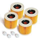 MI:KA:FI Patronenfilter | für Kärcher Mehrzwecksauger + Nass-/ Trockensauger + Waschsauger | WD2 + WD3 + WD2.200 + WD3.200 + WD3.300 M + WD3.500 P + SE 4001 + SE 4002 | wie 6.414-552.0 (4x Filter)