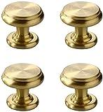 Nordischer Stil Massivem Messing Schubladengriff, Möbeltür Einloch Gold Farbe Knöpfe, für Schrank Kleiderschrank Kleiner Griff Hardware Dekor (4 Pcs )