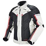 ETScooter Motorradjacke Herren mit CE Protektoren, Wasserdicht Winddicht Roller Motocross Motorrad Textil Jacke Protektorenjacke mit Abnehmbar Thermofutter und Reflektoren (Color : White, Size : M)