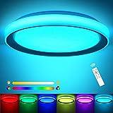 RGB LED Deckenlampe Farbwechsel 3000K-6500K ø51x8cm, OPPEARL 60w 4800LM LED Deckenleuchte Dimmbar Rund Leuchte mit Fernbedienung für Schlafzimmer Büro Esszimmer Küche Balk