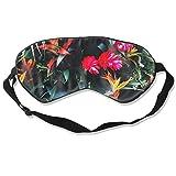 Schlafmaske, tropische Pflanzen, Seide, Maske mit verstellbarem Kopfband, Block, leichtes Nickerchen