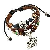 Lederwickel gewebte Lucky Leaf Armreifen Armbänder für Frauen Herz Seestern Anhänger mit Perlen Armband Schmuck