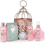 BRUBAKER Cosmetics Bade- und Dusch Set Rosenwasser Champagner - 7-teiliges Geschenkset im orientalischen Windlicht - dekorativer Hängekorb Roség