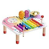 BeebeeRun Baby Xylophon und Hammerspiel Musikinstrumente Set, Xylophon Kinder Holz, Geburtstagsgeschenk-Set für Jungen Mädchen (10 Stück)