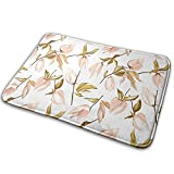 Tender-Jungle-Peach-Flowers-and-Leaves-Physalis Bath Mat Polyester Front Door Mat Bathroom Rugs Carpet for Inside Outdoor 15.7 X 23.5