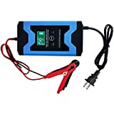 Z&LEI Automatisches Auto-Batterieladegerät, 12V intelligentes schnelles Stromaufladung Nasser trockener Blei-Säure-Digital-LCD-Display-Auto-Jump-Starter-B