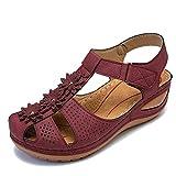 Sommer Keilabsatz Slip-On Sandalen Leichte weiche Sohle Runde Zehen Frauen Römische Sandalen Lässiger Komfort Outdoor Walking Flats Schuhe