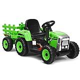 COSTWAY 12V 3-Gang Traktor mit abnehmbarem Anhänger und 2,4G Fernbedienung, Kinder Aufsitztraktor mit LED Lichtern, Musik, Hupe, Bluetooth & USB Funktionen, geeignet für Kinder ab 3 Jahren (Grün)
