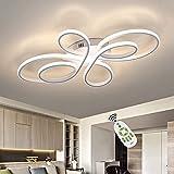 ZMH LED Deckenleuchte Wohnzimmer Moderne LED Deckenlampe Weiß Dimmbar mit Fernbedienung 65 Watt aus Metall in Schmetterlingforming Design für Schlafzimmer
