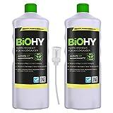 BIOHY Teppichreiniger für Waschsauger (2x1l Flasche) + Dosierer | geeignet für alle Waschsauger | entfernt Flecken und Schmutz mühelos | Reinigung und Pflege in nur einem Arbeitsgang