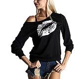 T-Shirt Damen Langarm Asymmetrisch Trägerlos Lippenabdruck Damen Tops Lose Version Mode Lässig Komfortabel Sanft T-Shirt All-Match Oberteile Damen A-White XXL