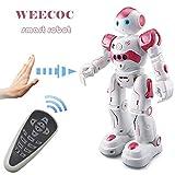 WEECOC Intelligenter Roboter-Spielzeug, Gestensteuerung, ferngesteuerter Roboter, Kinderspielzeug, Geburtstag, singen, tanzen, sprechen, zwei laufende Modelle (Pink)