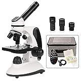 BNISE Mikroskop, 40X-2000X Mikroskop für Studenten und Labor, Ganzmetall-Labormikroskop mit optischen Glaslinsen, schnurloses LED-Schülermikroskop mit Dias, Handy-Adapter und Tragetasche
