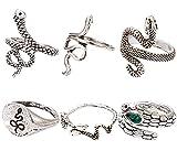 Miotlsy Vintage 10 Stück Schlangenring-Set Edelsteinring Gold Gelenk Knuckle Ring Viel Glück für Frauen und Mädchen