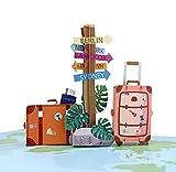 MOKIO® Pop-Up Reisegutschein – 3D Gutscheinkarte zum Urlaub, Geburtstag oder Abschied – Geldgeschenk für Urlaubsgeld, Geschenkkarte zur Reise, Urlaubsgutschein