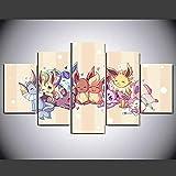 HFDSA Bilder XXL 5 Teile Wandbild Leinwandbilder Kunstdruck Pokemon Evoli Evolutions Anime XXL 5 Teiliges Wandbild Mit Rahmen Größe 150X80Cm Leinwandbild Wandbilder