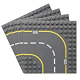 Feleph Straßen Grundplatte für Größere Bauziegel, Stadt, Dorf Straße Grundplatte, Stapelbare Platte Kompatibel mit Großen Marken (Groß Kurve 4 Stück)