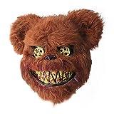RunkeU Halloween Teddy Bear Maske Halloween Ghost Festival Maske - Masquerade Horror Scary Head Cover Geistermaske Brown Plüschmaske Kind Erwachsene Performance Requisiten