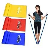 Potok Fitnessbänder 3er-Set für Fitness, Reha, Gymnastik und Physiotherapie | Leicht | Medium | Stark - Fitnessband Trainingsband Gymnastikband, Für Männer & F