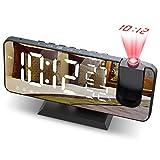 JIGA Wecker Digital Projektionswecker mit FM-Radio 7' LED Spiegelbildschirm Snooze Dual Alarm mit USB Anschluss 4 Helligkeiten Ultraklarer Raidowecker Funkuhr Digital für das Schlafzimmer,Küche,Bü