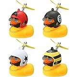 4 Stücke Gelbe Gummiente Spielzeug Auto Ornamente Gelb Ente Auto Armaturenbrett Dekorationen mit Propeller Helm (Nette Stile)