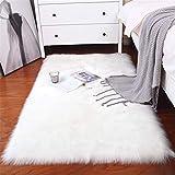 Sweetwill Faux Lammfell Schaffell Teppich 50 x 150 cm Modern Wohnzimmer Teppich Flauschig Lange Haare Fell Optik Gemütliches Schaffell Bettvorleger Sofa Matte (Weiß, 50 x 150 cm)