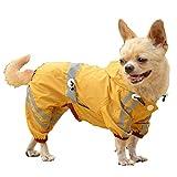 Hmpet Hund Regenmäntel, wasserdicht Leichtgewicht mit Kapuze wasserdichte Jacken und hohe Sichtbarkeit mit reflektierenden Streifen für kleine mittelgroße große Haustiere,Gelb,S