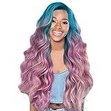 Perücke Farbe Lang Locken Wellige Synthetische Perücken für Frauen gemischte Bleichen und Färben von rosa lila Perücke Gradient Haare Cosplay Karneval Party Kostüm