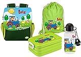 Mein Zwergenland   Personalisertes Kindergartenrucksack-Set   Kinderrucksack, Lunchbox Maxi, Turnbeutel aus Baumwolle, Trinkflasche Happy Knirps Next Print mit Name   Grün   Traktor