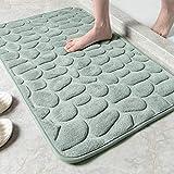 SHANNA Memoryschaum Badematte rutschfest, Saugfähig Badvorleger Waschbar Badezimmerteppich Weich Teppich, Fußmassage Badteppich für Badezimmer, 50x80 cm Grau
