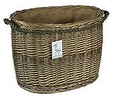 Abgerundete Weidenkörbe mit Seilgriffen, Holz- und Anzündholzaufbewahrung für Kaminöfen und Kamine, 60 cm, oval