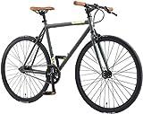 BIKESTAR Singlespeed 700C 28 Zoll City Stadt Fahrrad Fixie | 53 cm Rahmen Rennrad Retro Vintage Herren Damen Rad | Anthrazit & Beige | Risikofrei Testen