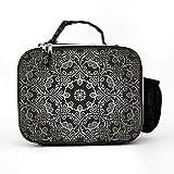 Harberry Isolierte schwarze Lunchtasche aus Leder mit normaler Größe – Textur, für Männer und Frauen, passend für die Arbeit, mit verstellbarem Schultergurt, Einheitsgröße, Weiß