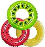 JOYIN 3 Stück Aufblasbare Schwimmringe mit Sommerfruchtmalerei, Kiwi, Zitrone und Wassermelone, Badespielzeug für Poolparty Dekorationen
