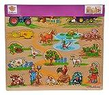 Eichhorn 100005454 - Plug-In-Puzzle 40x35cm mit 21-23 Plug-In-Teilen, Motive: Safari, Bauernhof, Verkehr, Lieferumfang 1 Stück, FSC 100% zertifiziertes Linden-Sperrholz, Sortierte Modelle