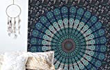 raajsee Indisch Psychedelic Wandteppich Mandala Blau Turquoise Tapestry/Elefant Boho Wandtuch Hippie/Mehrfarbige Indischer Wandbehang Tuch Twin 54x82 Inch/Indien Baumwolle Wand tucher 140x210