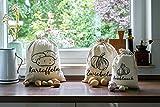   3er-Set, Gemüsebeutel aus Leinen-Stoff zur Aufbewahrung, je 1x mit Aufdruck für Kartoffel, Zwiebel, Knoblauch