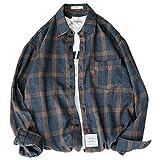 Huntrly Herrenhemd für den Herbst Relaxed Casual Langarm Karohemd Pendler Büroarbeit Allgleiches Large Size XXL