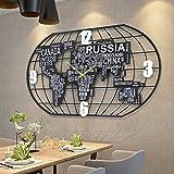 DXMGZ Weltkarte Wanduhr für Wohnkultur, Kunst Aus Eisen Moderne Kreative Einfache Wanduhr, Stumm Wanduhr für Arbeitszimmer Wohnzimmerdekoration Without LED 52 * 100CM