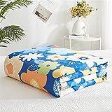Fansu Tagesdecke Bettüberwurf Steppdecke Baumwolle Doppelbett Einselbetten Tagesdecken Gesteppt Bettwäsche Sofaüberwurf Wohndecke Nordischer Blumendruck Bettdecke (Sonnenschein blau,150x200cm)